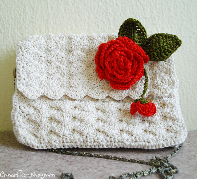 Ravelry: Ecru crochet purse with rose embellishment pattern by