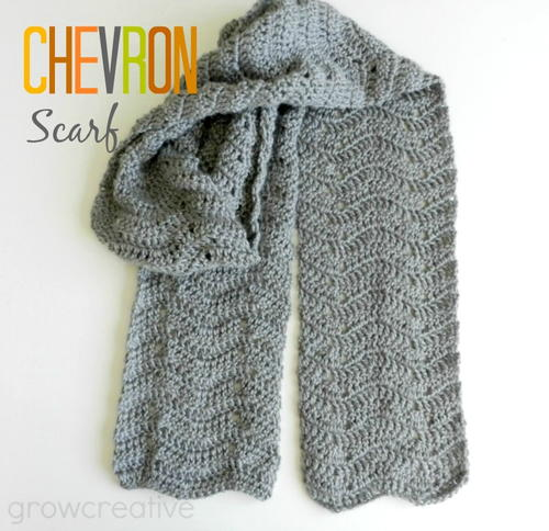 Gray Chevron Easy Crochet Scarf | AllFreeCrochet.com