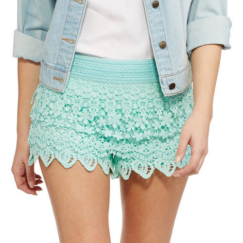 No Boundaries - Juniors' Layered Crochet Shorts - Walmart.com