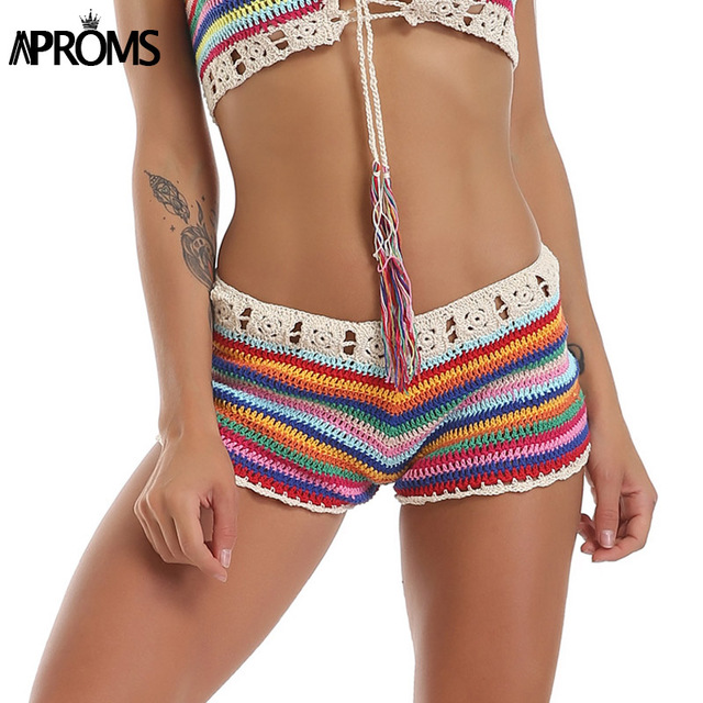 Aproms Mixed Colorful Stripe Knitted Crochet Shorts Women Fashion