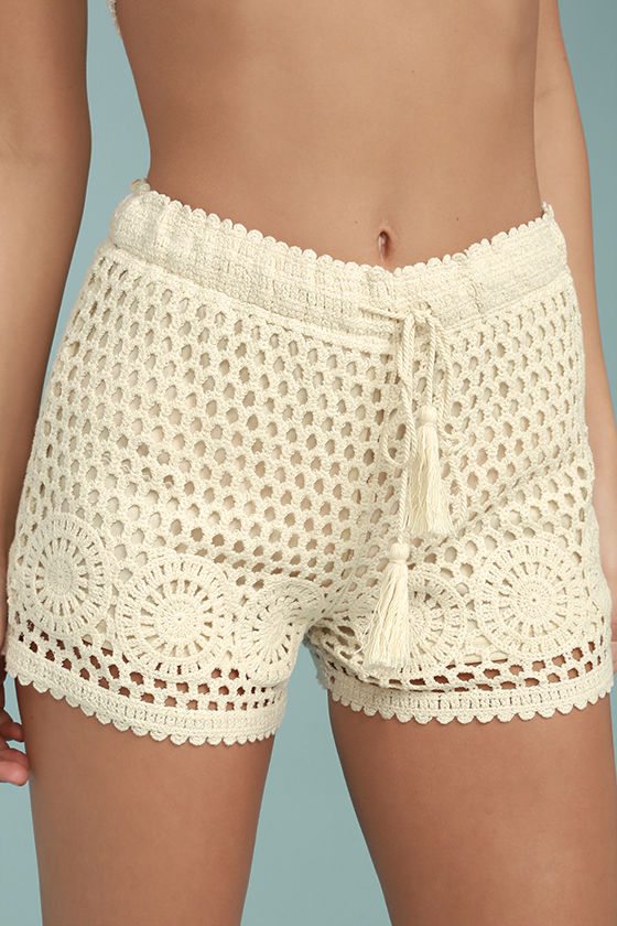 Cute Cream Shorts - Crochet Lace Shorts - Crochet Shorts - $46.00