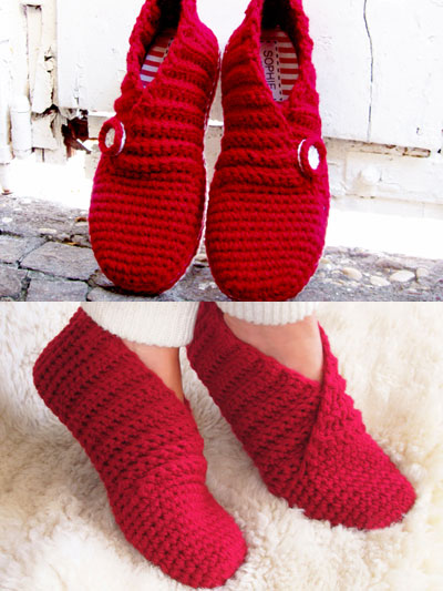 Crochet Slipper Patterns - Red Rib Basic Slippers Crochet Pattern
