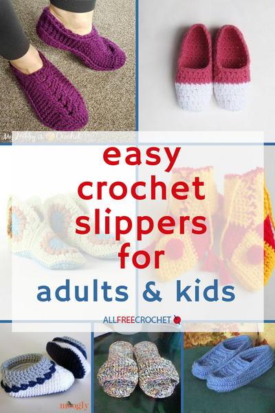 49 Easy Crochet Slippers for Adults and Kids | AllFreeCrochet.com
