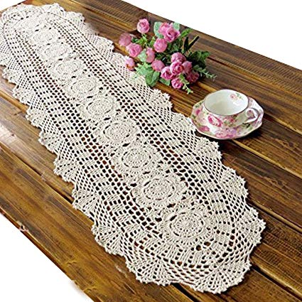 Amazon.com: USTIDE Floral Hand Crochet Table Runner Doily Beige Lace