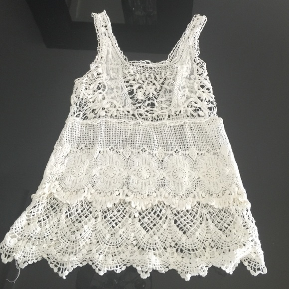 Zara Tops | White Crochet Tank Top | Poshmark