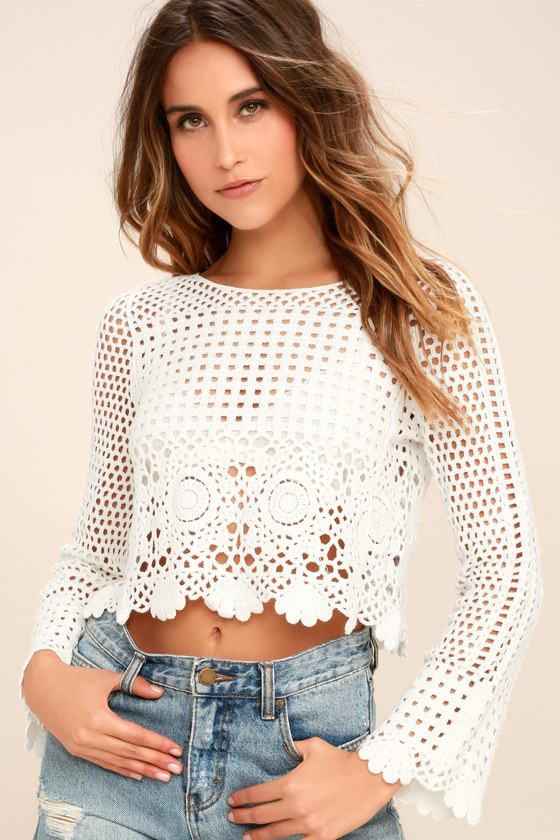 White Crochet Top - Sheer Lace Top - Long Sleeve Crop Top