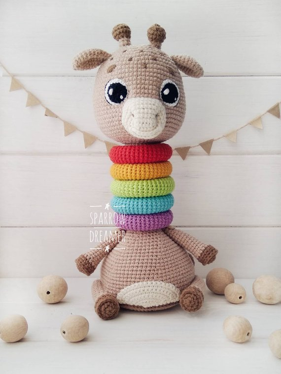 Educational toys Toys for development Crochet giraffe Rainbow