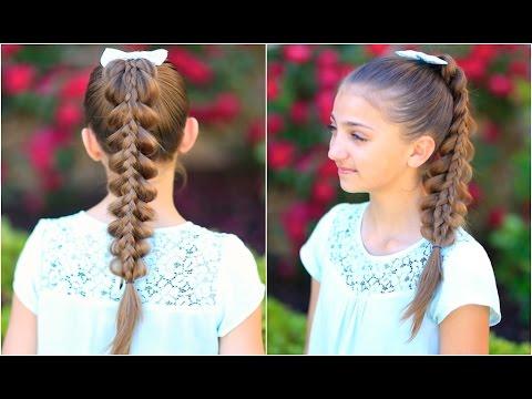 Stacked Pull-Thru Braid | Cute Girls Hairstyles - YouTube