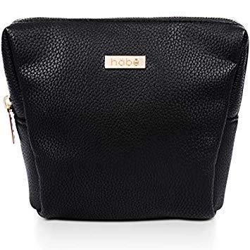 Amazon.com : habe PETITE Makeup Bag - 7x6x3 - Vegan Leather Small
