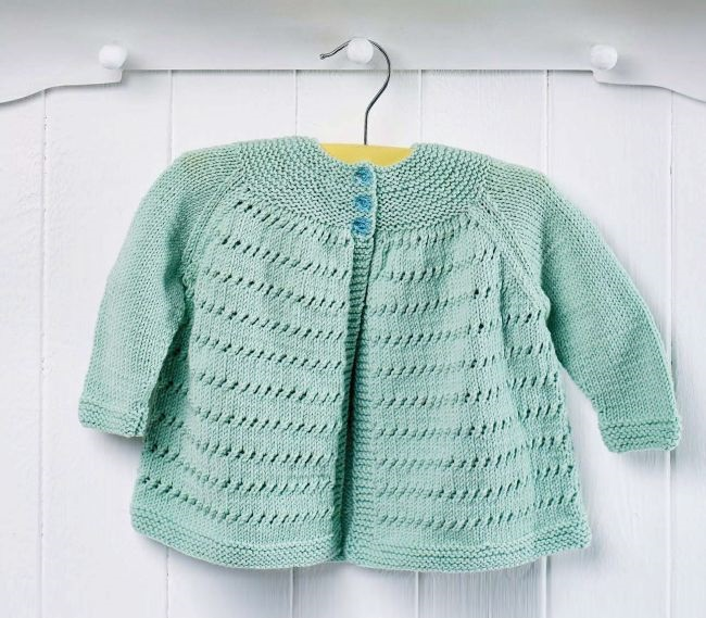 Free Knitting Pattern for an Easy Yoke Baby Cardigan ⋆ Knitting Bee