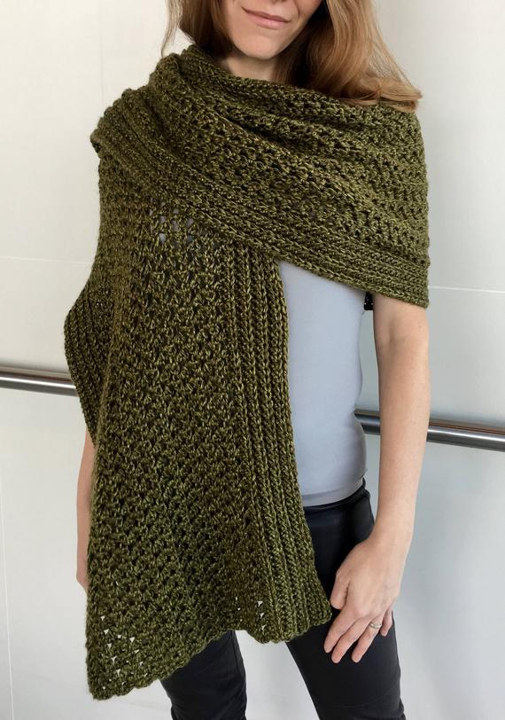 Easy Crochet Scarf PATTERN Shawl Crochet Pattern Crochet | Etsy
