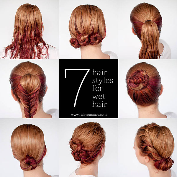 Get ready fast with 7 easy hairstyle tutorials for wet hair - Hair