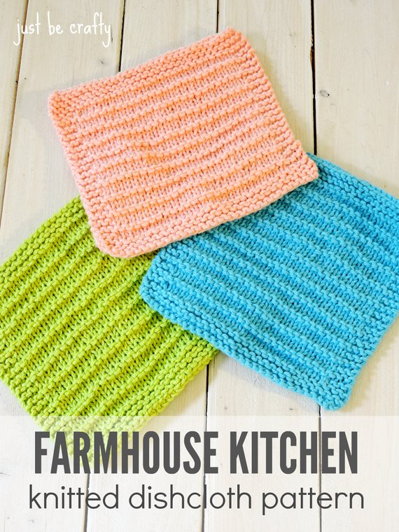 Knitted Dishcloth Pattern PDF Download Farmhouse Kitchen | Etsy