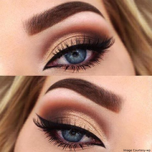 blue eyes on golden eye makeup - Fabulax Style