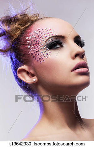 Beautiful woman with fantasy makeup Stock Photography k13642930