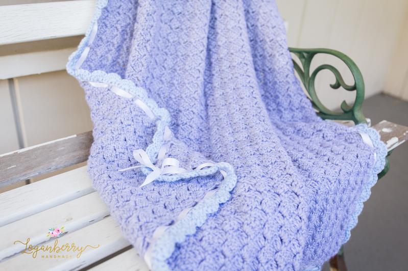 Baby Blue Scallops Crochet Blanket u2013 Free Crochet Pattern