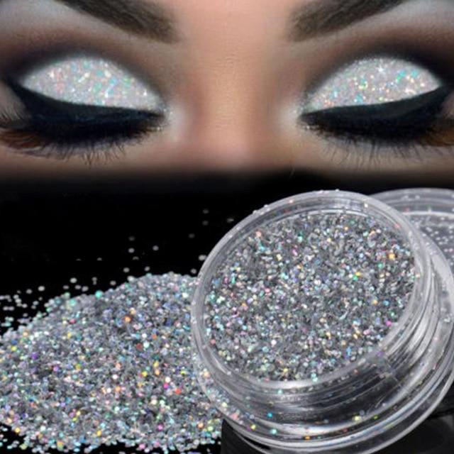 Sparkly Makeup Glitter Loose Powder EyeShadow Silver Eye Shadow
