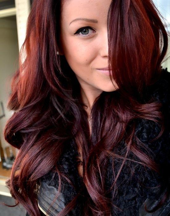 red hair glaze on dark brown hair | Love this color!! John Frieda 4R