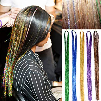 Amazon.com : 40 Inch Hair Tinsel 500 Strands Sparkling Tinsel Hair