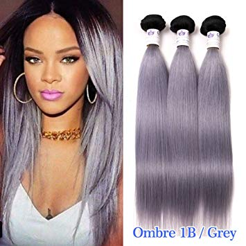 Amazon.com : GEFINE Grade 7A Black Grey Hair Weave Two Tone Ombre 1b