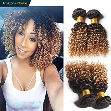 Amazon.com : Hairitory Ombre Kinky Curly Human Hair Weave 3 Bundles