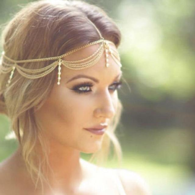 Boho Gold Draping Crystal Hair Cuff Arabian Bridal Hair Accessories