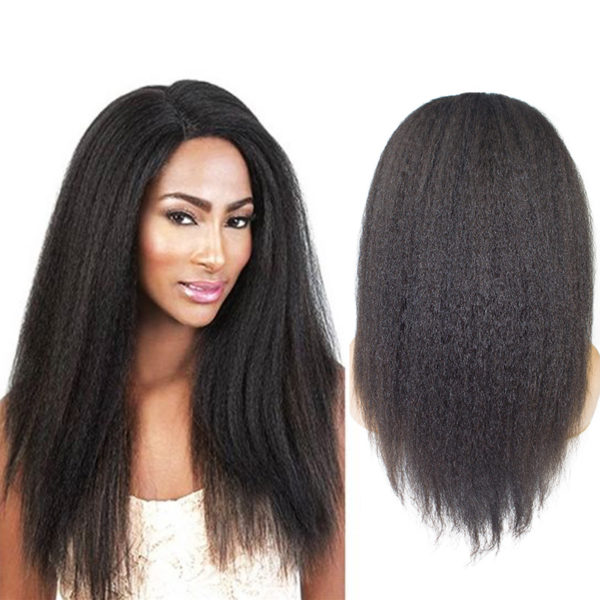Morein unprocessed raw hair kinky straight full lace human hair wig
