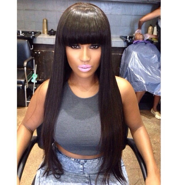 Stock Cheap Silk Straight 100 Human Hair Wigs For African Americans