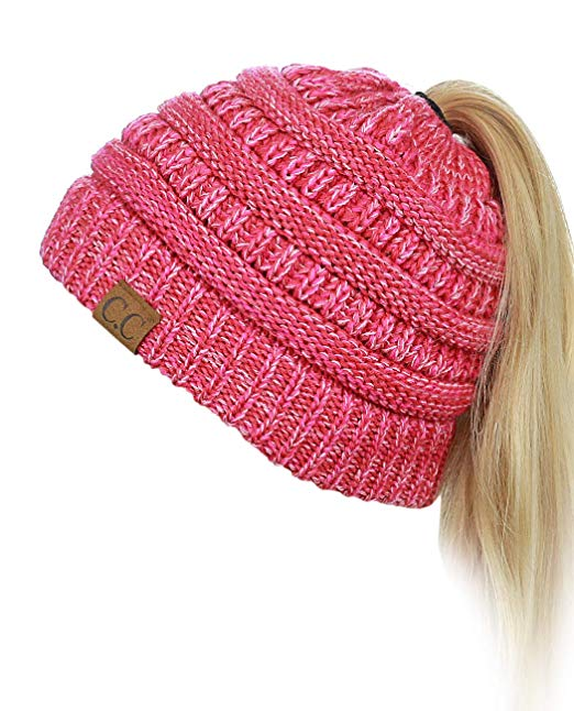 C.C BeanieTail Soft Stretch Cable Knit Messy High Bun Ponytail