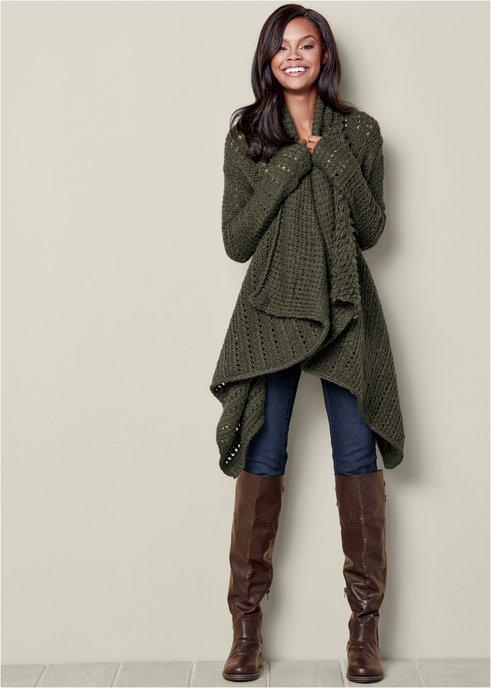 VENUS | OPEN KNIT CARDIGAN in Olive