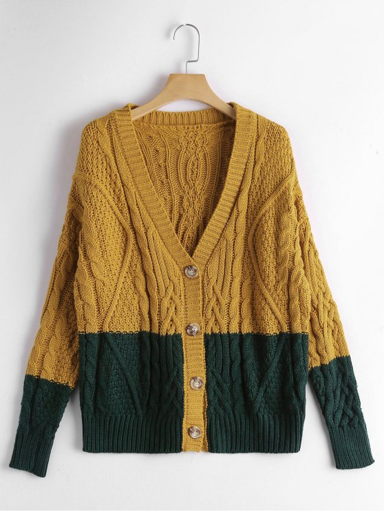 2019 Button Up Contrast Cable Knit Cardigan In GINGER ONE SIZE | ZAFUL