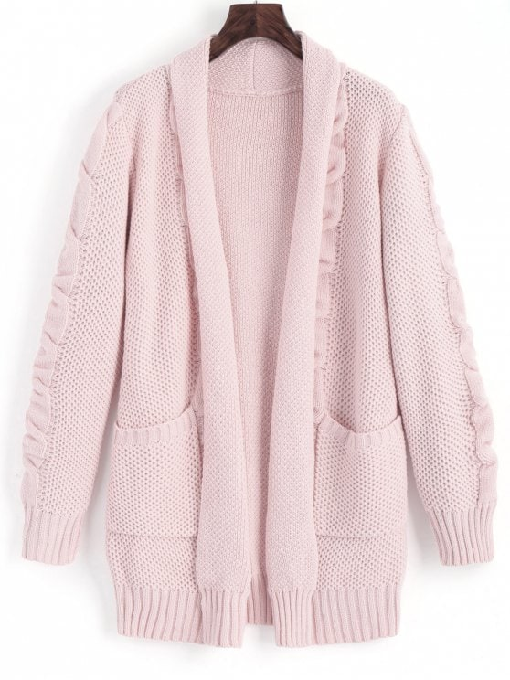 2019 Shawl Collar Cable Knit Cardigan In PINK L | ZAFUL
