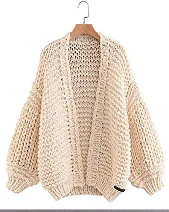 Gamery Women Knit Cardigan Sweaters Open Front Long Sleeve Beige at