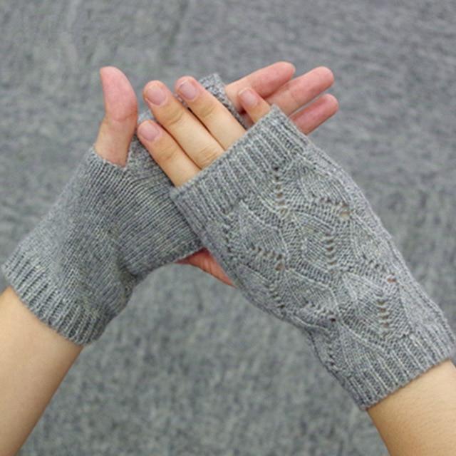 100% Cashmere Knitted Fingerless Gloves Women Winter Mittens Lovers