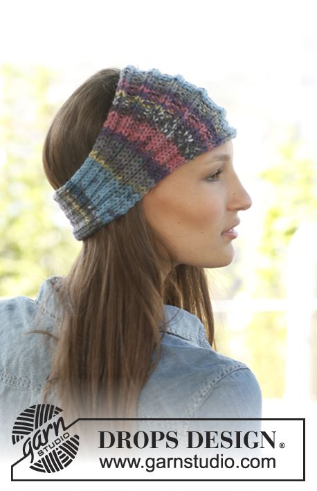 Free pattern: Knitted DROPS head band in