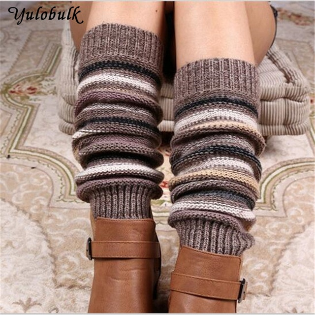 140g Women's Thick Winter cashmere Knitted Leg Warmers Legging Boot