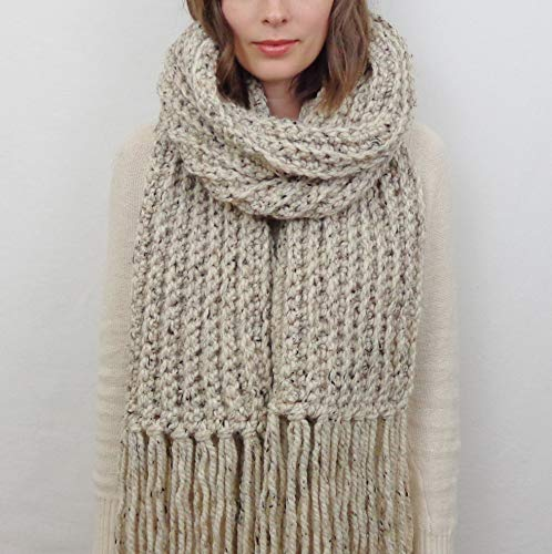 Amazon.com: Oversized Knit Scarf with Fringe (Choose your Color