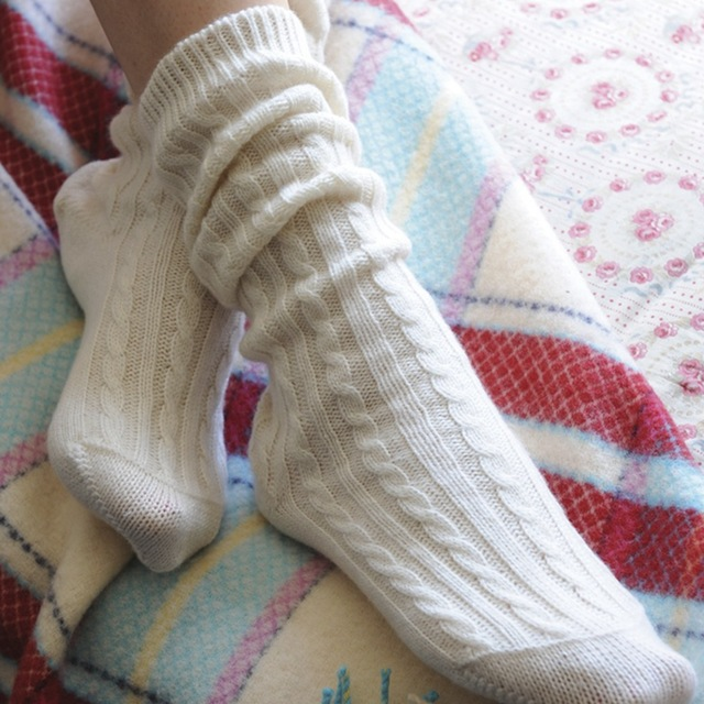 DILLY FASHION 100% Cashmere Cable Knit Socks for Women Pure Cashmere