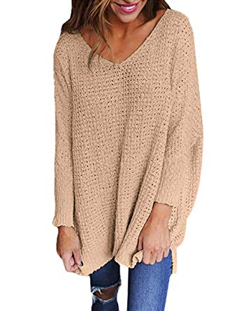 Exlura Women's Oversized Knitted Sweater Long Sleeve V-Neck Loose