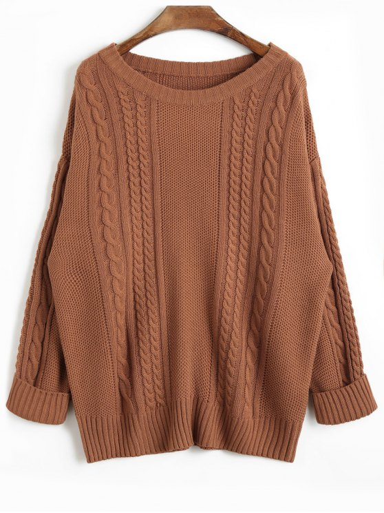 2019 Drop Shoulder Plain Cable Knit Sweater In COFFEE ONE SIZE | ZAFUL