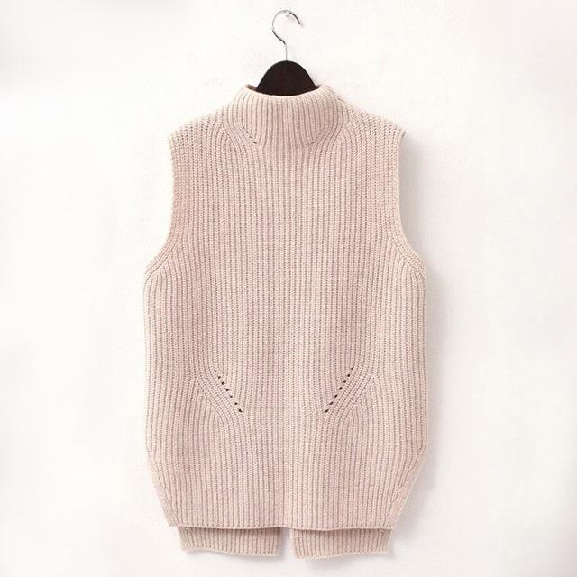 Fashion Hot Women High Neck Knit Vest Wool Knitwear Female Sweater