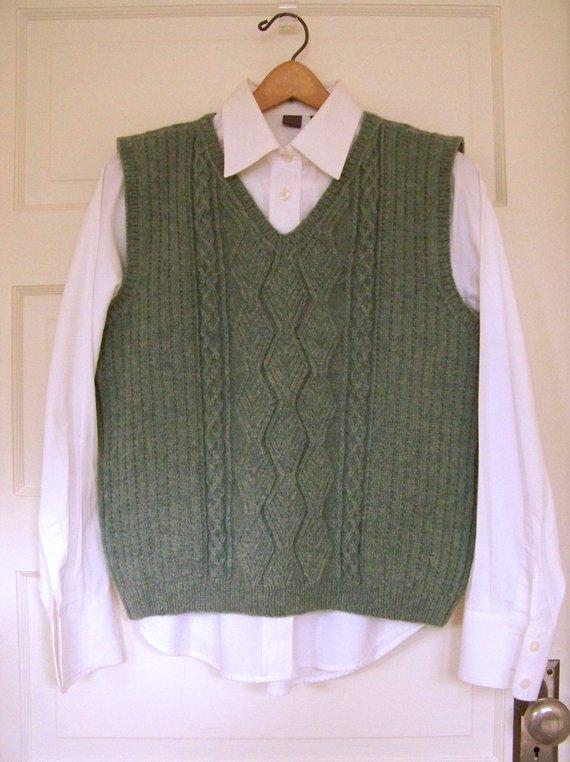 Aran Cable Knit Vest Hand Knit Sweater Vest Fishermans Cable | Etsy