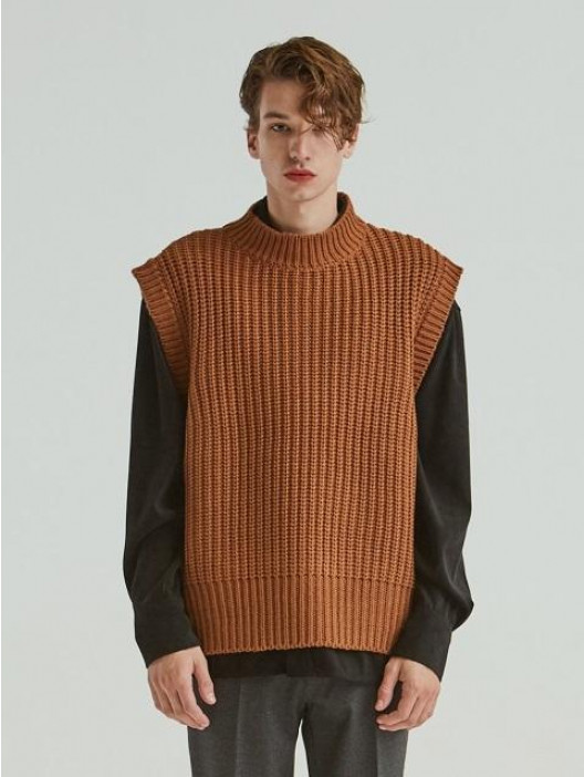 ADD 3 Guage Heavy Knit Vest Carmel │Curated Collections of Global