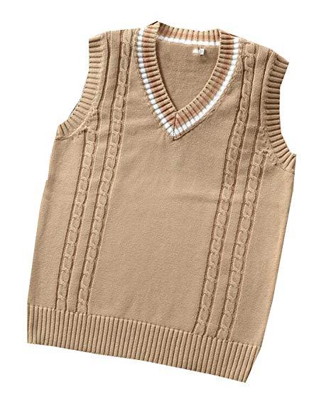 ainr Women's Deep V-neck Cotton Solid Color Knit Vest Textured