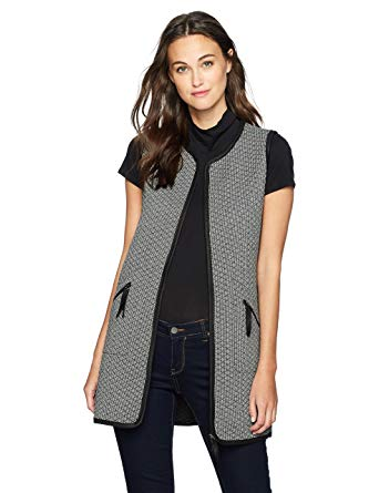 Max Studio Women's Check Quilted Knit Vest, Black/White, XS at