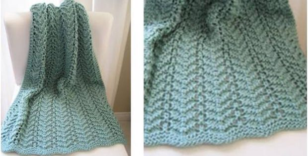 Easy Lacy Knitted Baby Blanket [Free Knitting Pattern]