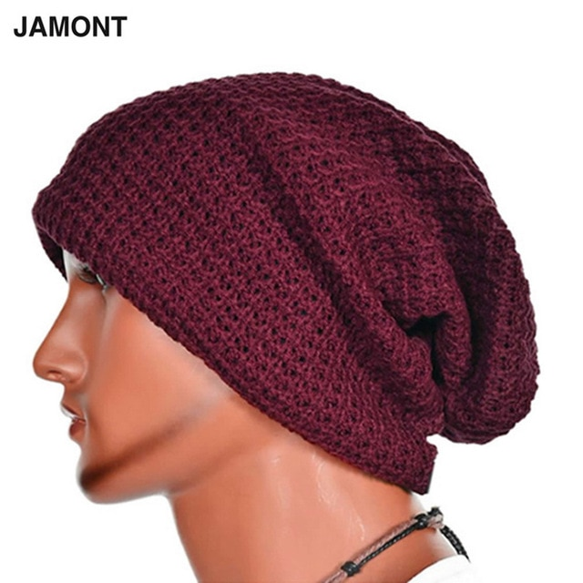 Casual Chic Men's Loose Beanie Black Hat Caps New Winter Women Men's
