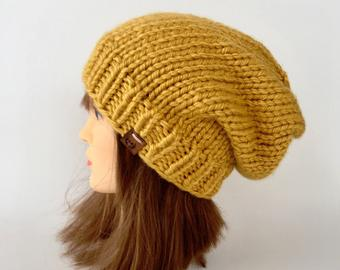 Hand knit beanie | Etsy