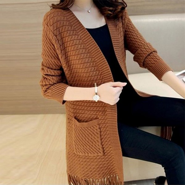 Buy Autumn Winter Tassel Knitted Cardigan Sweater Coat One Size Long