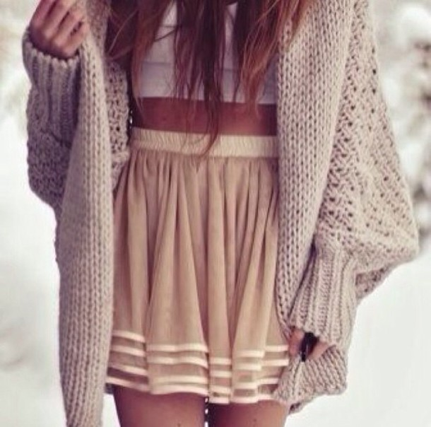sweater, oversized cardigan, knitted sweater, cardigan, skirt, tank